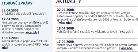 Ministerstvo dopravy– texty odkazů na úvodní stránce