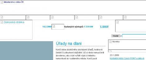 Náhled webu projektu Czech POINT svypnutými obrázky