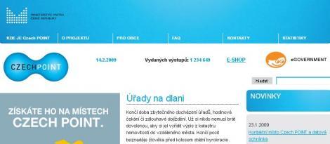 Náhled webu projektu Czech POINT se zapnutými obrázky