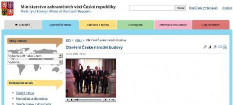 Stránka svideozáznamem na webu Ministerstva zahraničních věcí