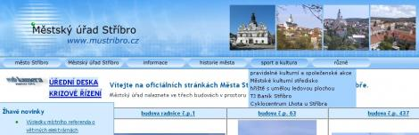 MÚ Stříbro – hlavní menu vprohlížeči spodporou JavaScriptu